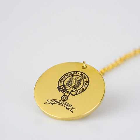 Image of Johnstone Clan Badge Engraved Pendant ( Pure Metal Or Gold Plated) Nn5