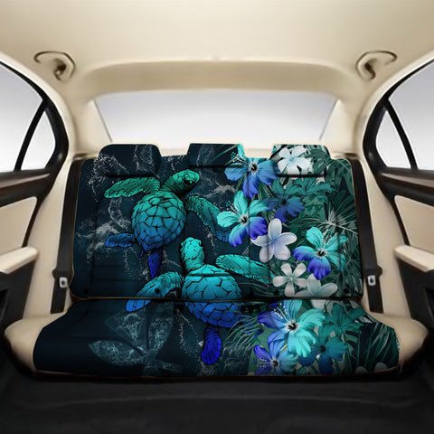 Kanaka Maoli (Hawaiian) Back Car Seat Covers - Sea Turtle Tropical Hibiscus And Plumeria Blue A24