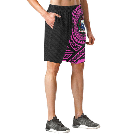 Image of Samoa Polynesian Beach Shorts Pink | Polynesian Clothing | Hot Sale