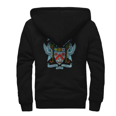 Saint Kitts and Nevis Crest Sherpa Hoodie (Women's/Men's) | Highest Quality