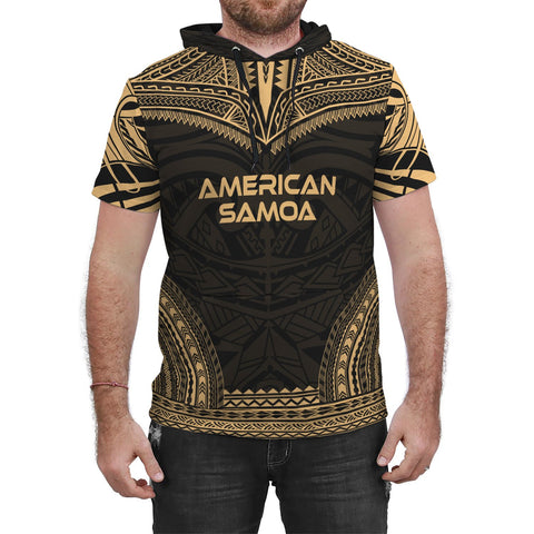 Image of American Samoa Gold Polynesian Chief Hoodie T-Shirt