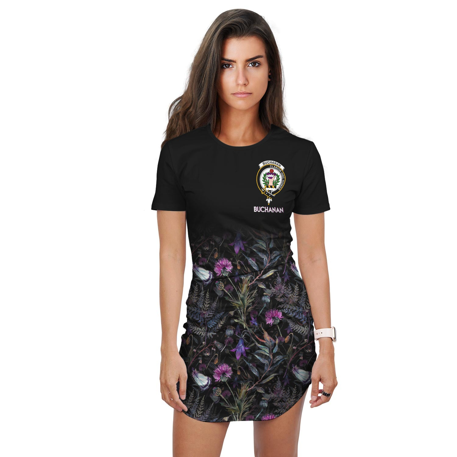 Buchanan Crest T-Shirt Dress Scottish Thistle | Over 300 Clans | Scotland