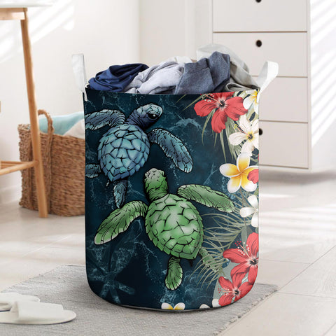 Kanaka Maoli (Hawaiian) Laundry Basket - Sea Turtle Tropical Hibiscus And Plumeria Personal Signature | Love The World