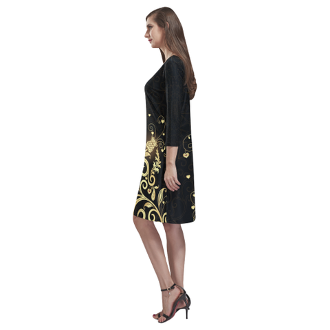 Image of Scottish Golden Thistle Rhea Loose Round Neck Dress | HOT Sale