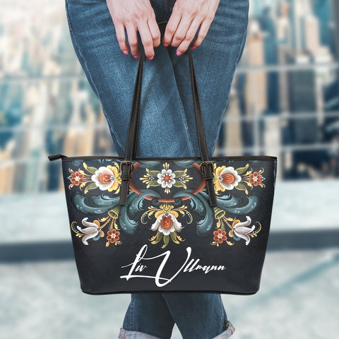 Image of Norway Leather Tote Bag Personal Signature - Telemark Norwegian Rosemaling  A7
