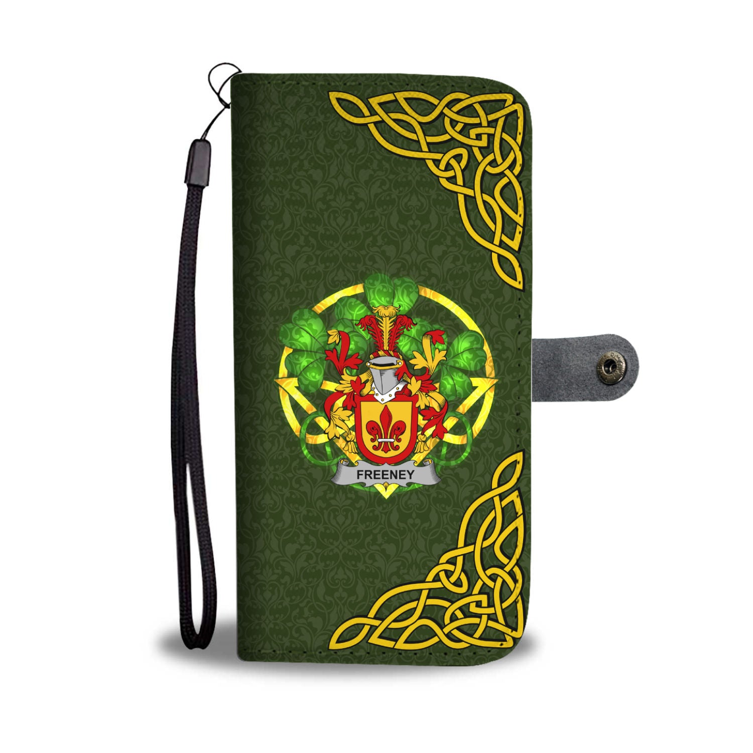 Freeney Ireland Wallet Phone Case Celtic Shamrock - Irish Family Crest | Over 1400 Crests | Accessories