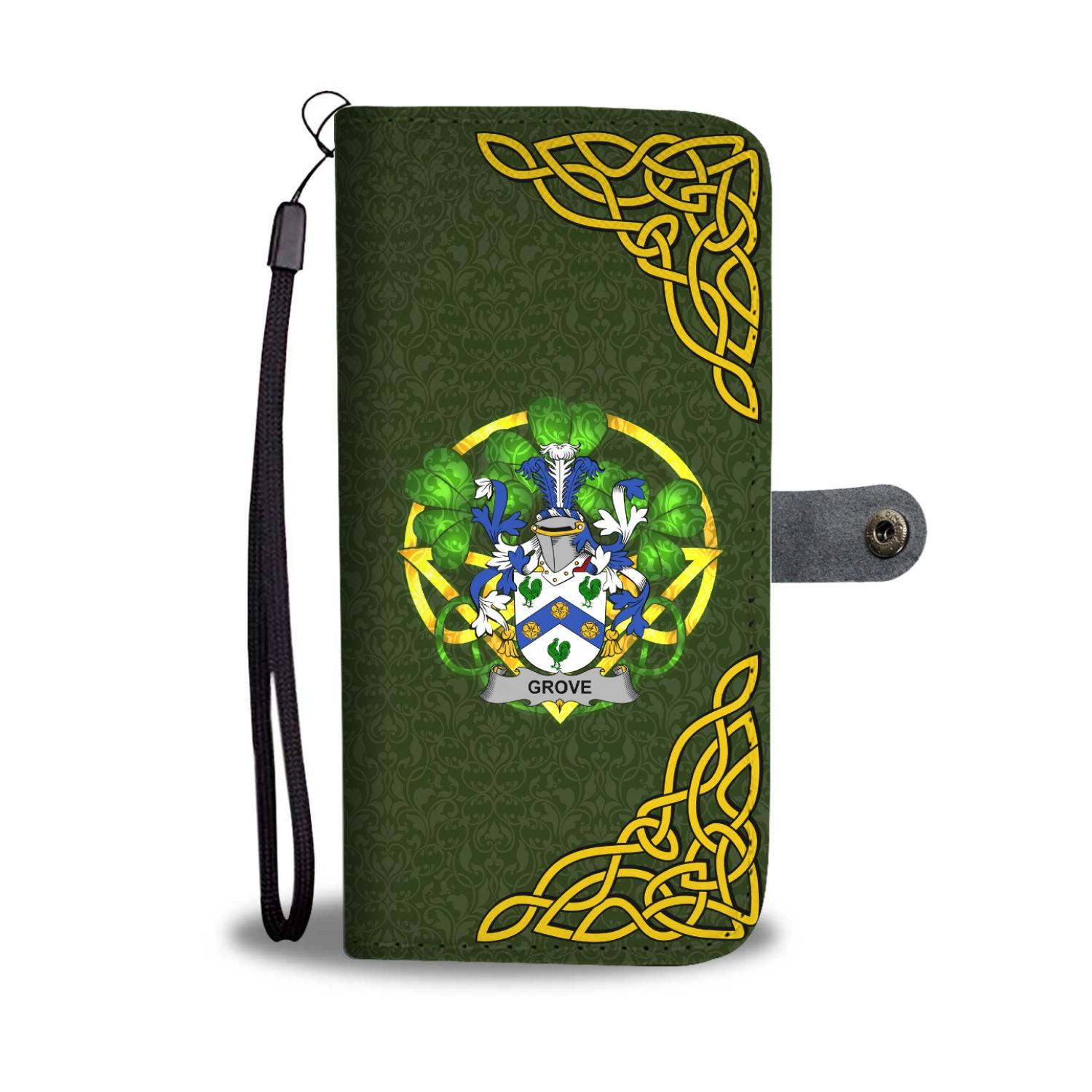 Grove Ireland Wallet Phone Case Celtic Shamrock - Irish Family Crest | Over 1400 Crests | Accessories