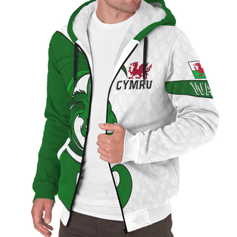 Welsh Sherpa Hoodie - Welsh Myth Dragon Green | Love The World