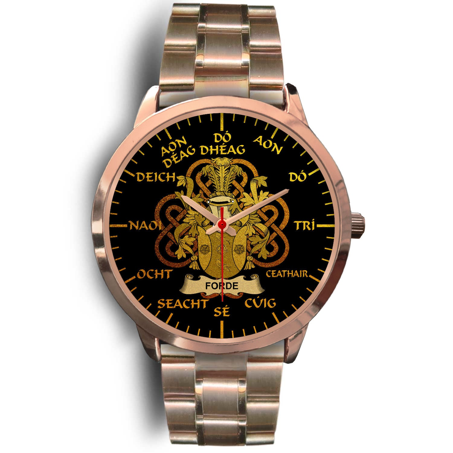 Forde or Consnave Ireland Watch Gold Irish Celtic Shamrock (Rose Gold) | Over 1400 Crests | Accessories | High Quality