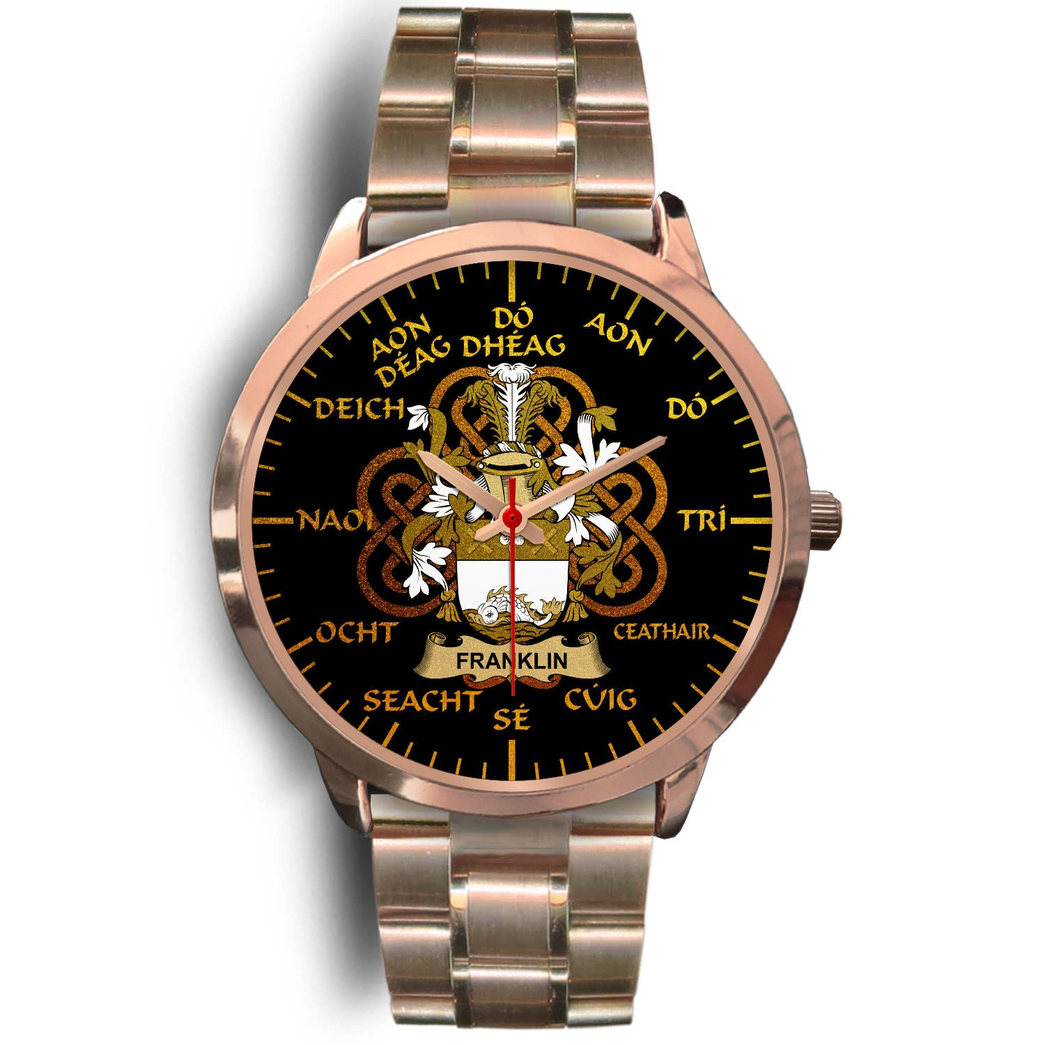 Franklin Ireland Watch Gold Irish Celtic Shamrock (Rose Gold) | Over 1400 Crests | Accessories | High Quality