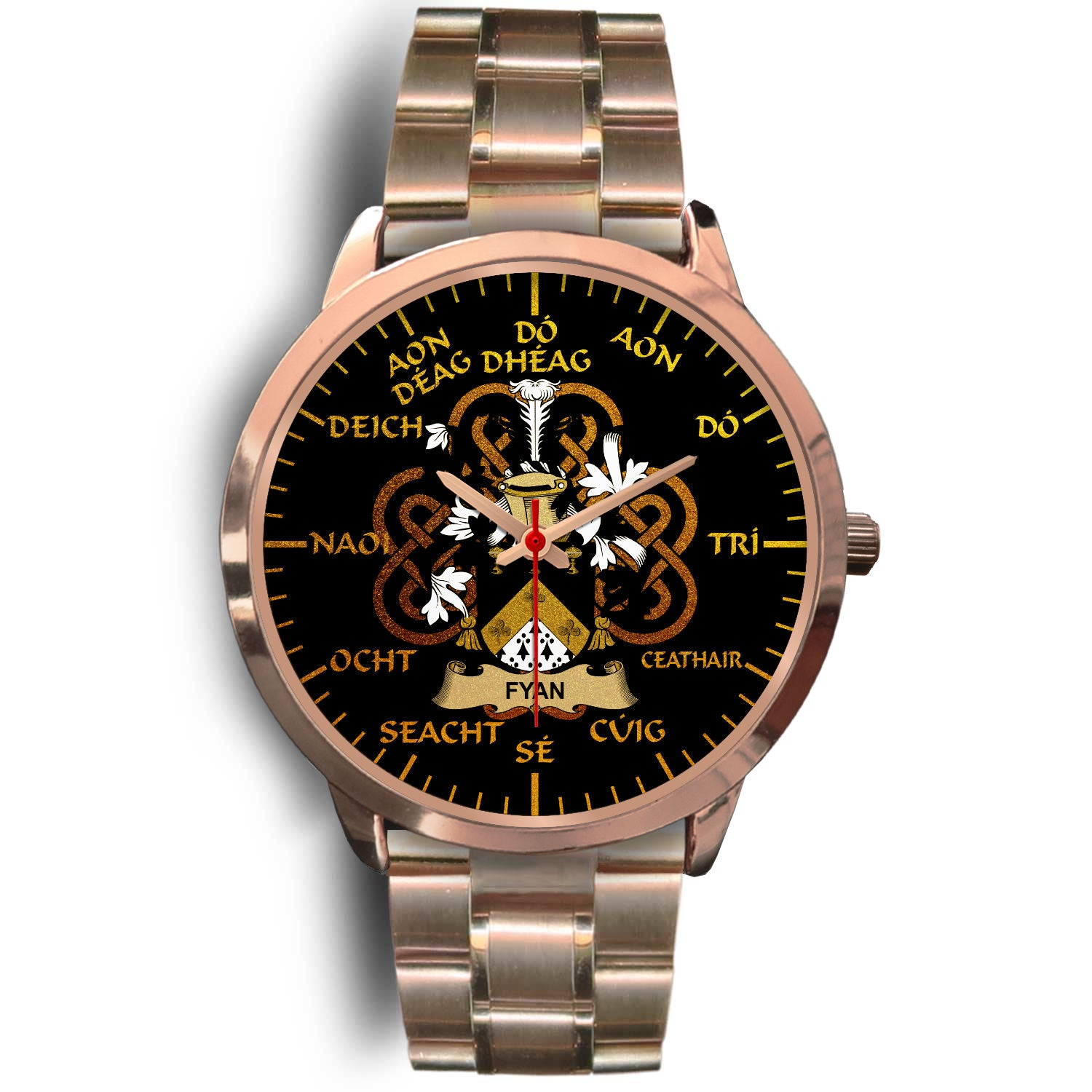 Fyan or Faghan Ireland Watch Gold Irish Celtic Shamrock (Rose Gold) | Over 1400 Crests | Accessories | High Quality