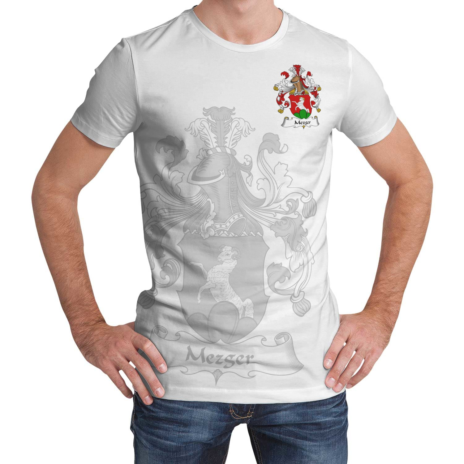 Mezger T-Shirt Germany - German Family Crest | Over 2000 German Crests | Women & Men | Clothing