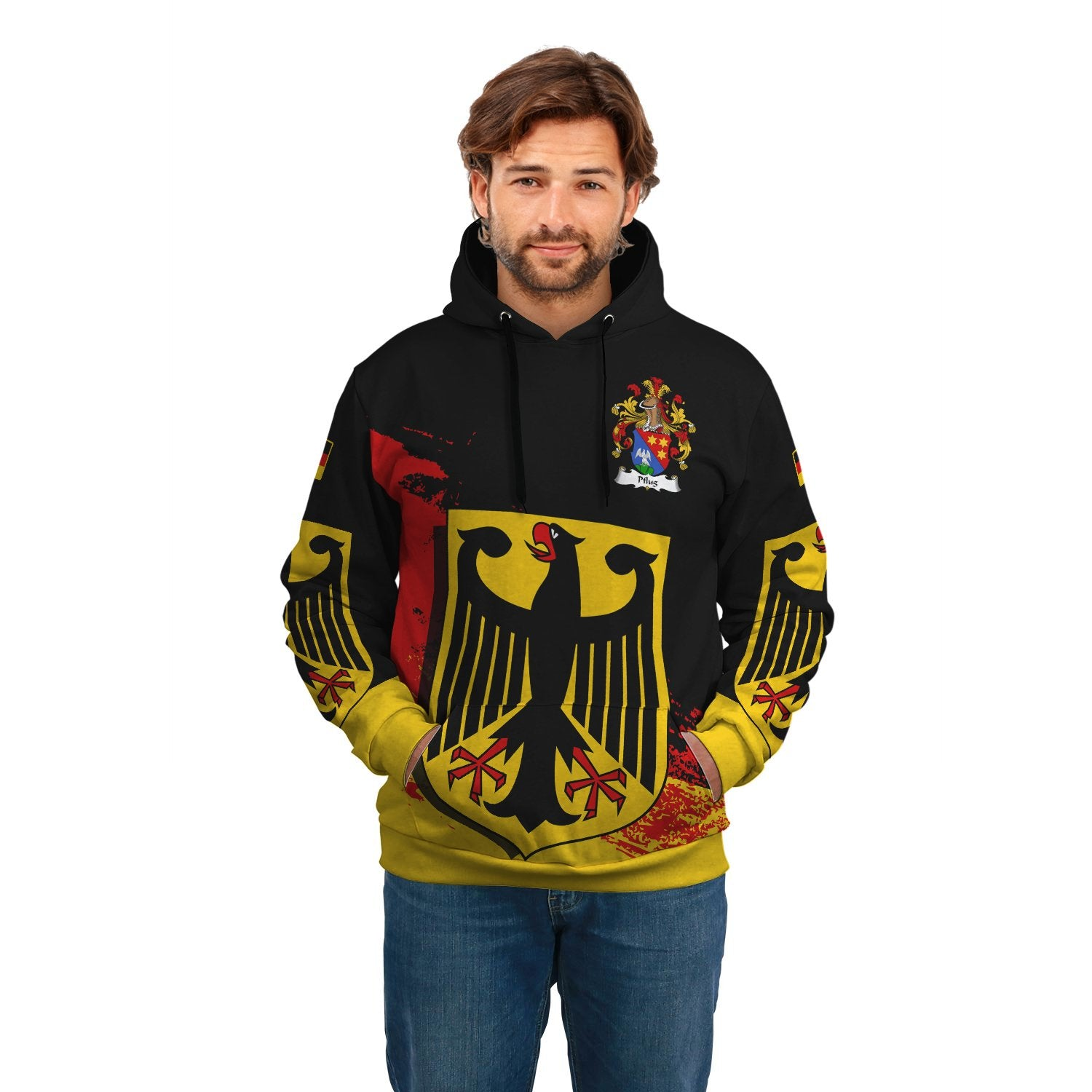 Pflug Germany Hoodie - German Family Crest (Special Version) | Over 2000 German Crests | Clothing