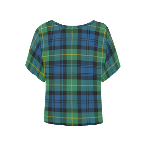 Gordon Ancient Tartan T Shirt - Women's Batwing-Sleeved Blouse K7