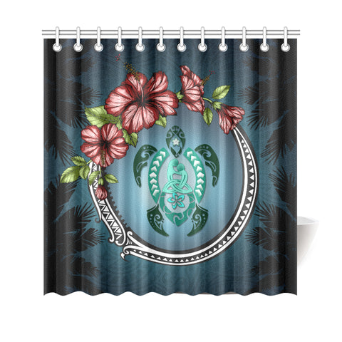 Image of Kanaka Maoli (Hawaiian) Shower Curtain -  Polynesian Ohana Turtle Hibiscus Mother Son A24