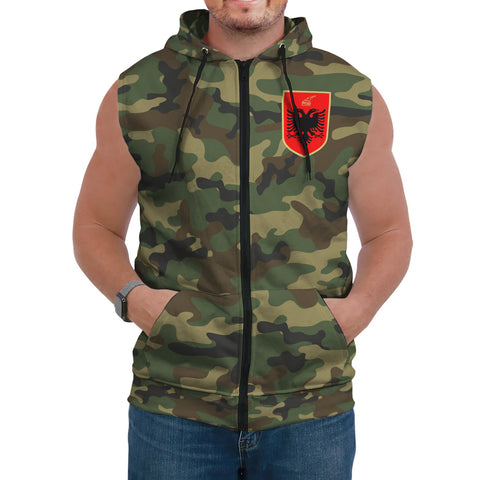 Albania Sleeveless Hoodie Camo (Women's/Men's) A7