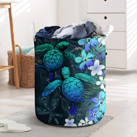 Kanaka Maoli (Hawaiian) Laundry Basket - Sea Turtle Tropical Hibiscus And Plumeria Blue | Love The World