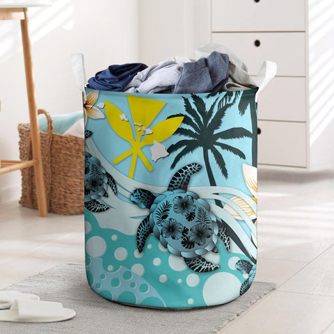 Kanaka Maoli (Hawaiian) Laundry Basket - Blue Turtle Hibiscus | Love The World