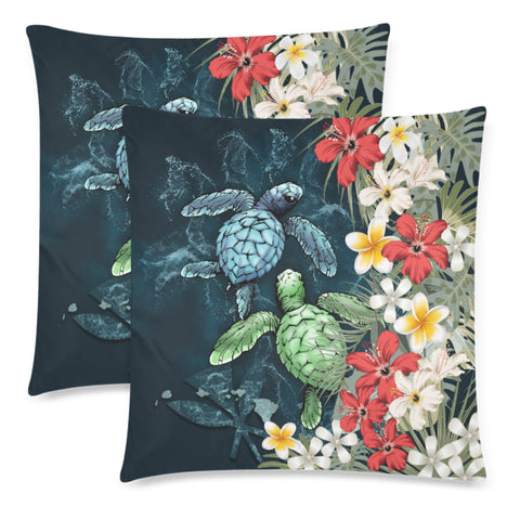 Image of Kanaka Maoli (Hawaiian) Pillow Case - Sea Turtle Tropical Hibiscus And Plumeria A24
