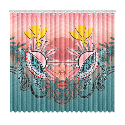 Image of Kanaka Maoli (Hawaiian) Window Curtain - Polynesian Turtle and Sun A18
