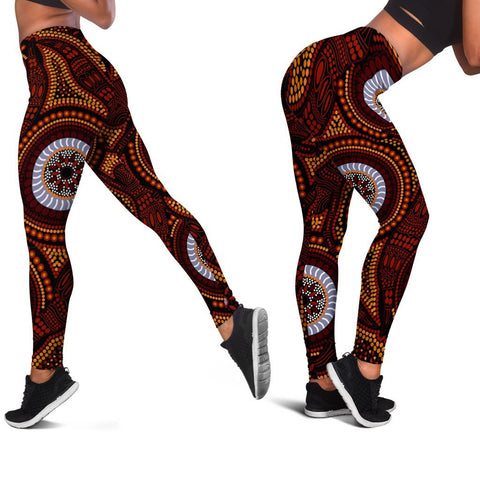 1stTheWorld Aboriginal Women's Leggings - Aboriginal Human Dot Painting Art