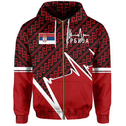 Serbia Zip Hoodie - Србија In My Heartbeat | Clothing
