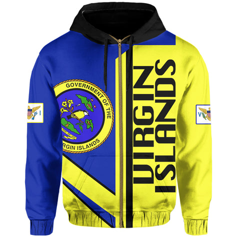 US Virgin Islands Half Concept Allover Zip Hoodie | Clothing | 1sttheworld | Love The World