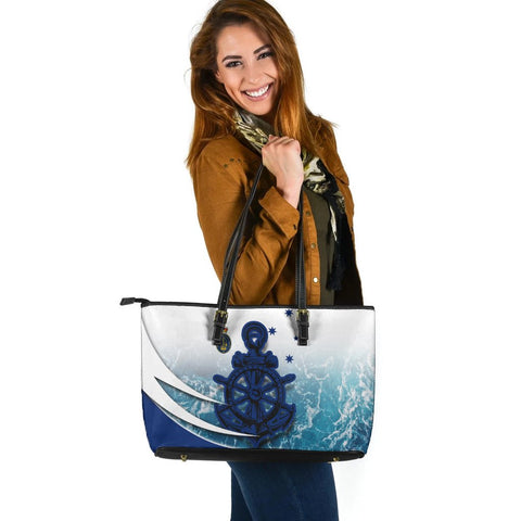 Australia Royal Navy Leather Tote Bag - Ocean Is Home