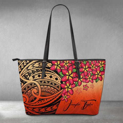 (Custom) Polynesian Leather Tote - Polynersian Plumeria Red Personal Signature A24