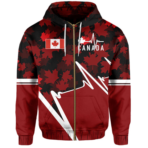 Canada Zip Hoodie - Canada In My Heartbeat | Clothing