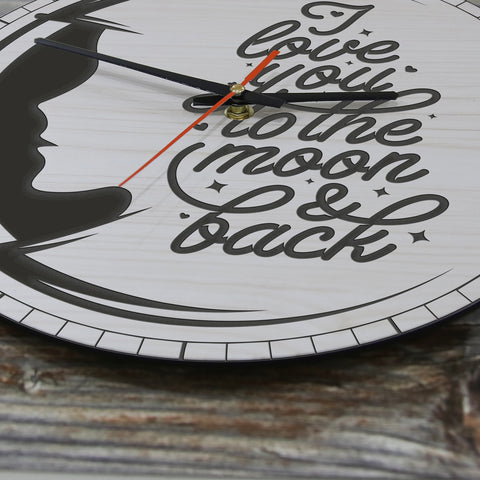 I Love You To The Moon And Back Version Lady Face Wooden Wall Clock