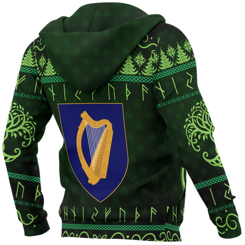 Image of Ireland Christmas Zip-up Hoodie - Celtic Shamrock