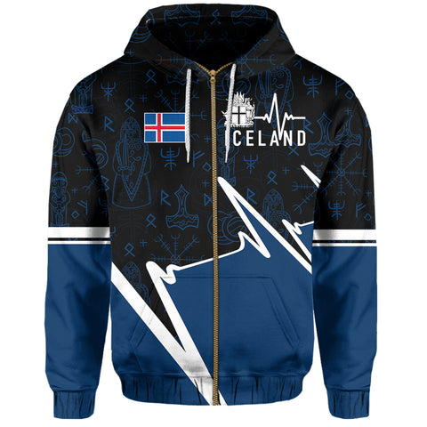 Iceland Zip Hoodie - Ísland In My Heartbeat | Clothing