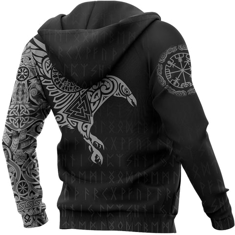 Vikings - The Raven Of Odin Tattoo Zipper Hoodie A7