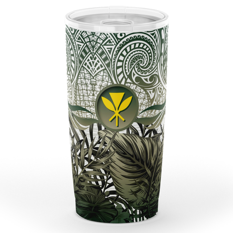 Image of Kanaka Maoli (Hawaiian) Tumbler, Polynesian Palm Leaves Hibiscus Plumeria Flowers (Pine Green) | Love The World