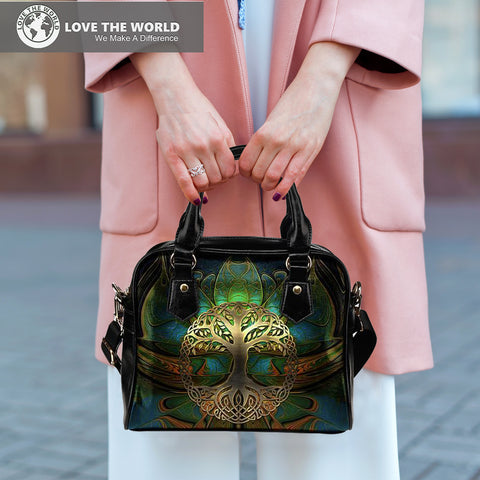 Image of Celtic Shoulder Handbag - Luxury Golden Celtic Tree | HOT Sale