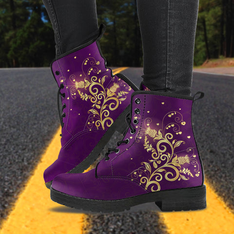 Scotland Leather Boots -  Scottish Thistle Golden Edition A7 |Footwear| Love The World