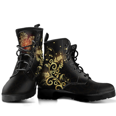Scotland Leather Boots - Scottish Golden Thistle And Butterfly A7 |Footwear| Love The World