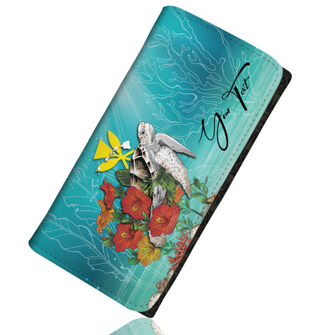 Image of (Custom) Kanaka Maoli (Hawaiian) Wallet Women - Ocean Turtle Hibiscus Personal Signature A24