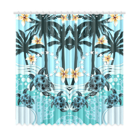 Image of Cook Islands Window Curtain - Blue Turtle Hibiscus A24