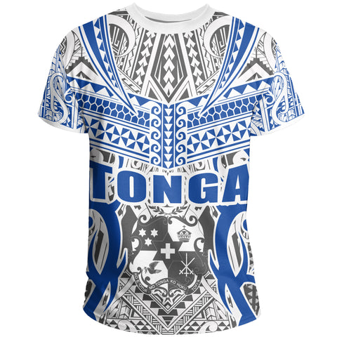 Tonga T-shirt - Kingdom of Tonga Tee White Blue J0