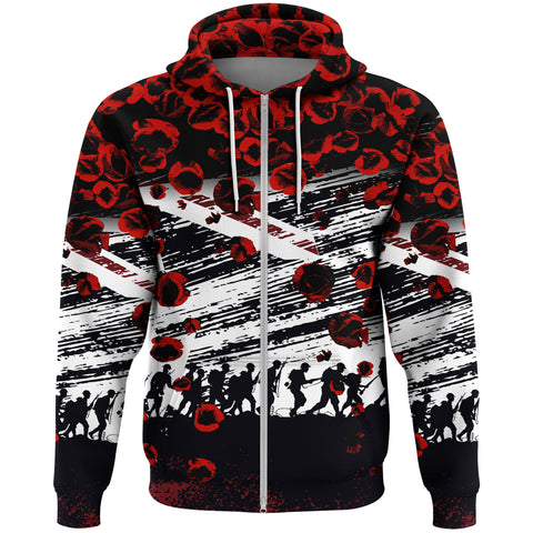 Australia Zip Hoodie Lest We Forget Remembrance Day, Poppy - New A7