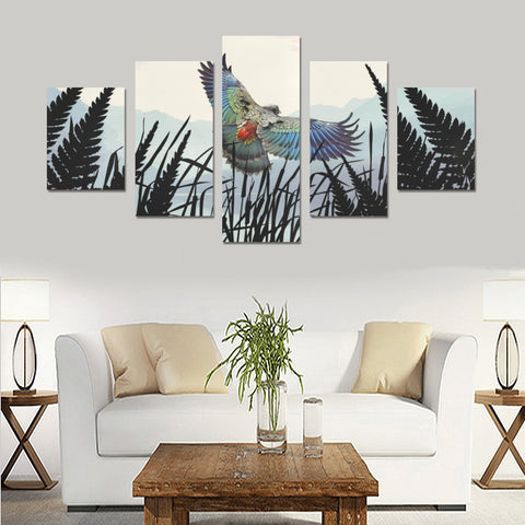 Image of New Zealand Kea Bird Silver Fern 5 Piece Framed Canvas 03 k7 (No Frame)