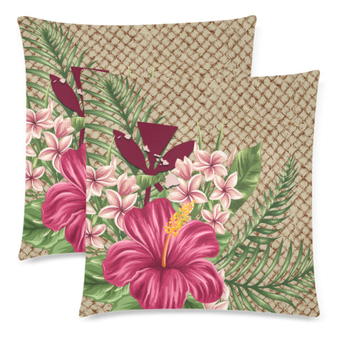 Kanaka Maoli (Hawaiian) Pillow Cases - Lauhala Hibiscus And Plumeria | Love The World