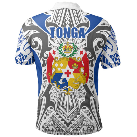 Tonga Polo Shirt - Kingdom of Tonga White Blue J0