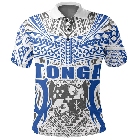 Image of Tonga Polo Shirt - Kingdom of Tonga White Blue J0