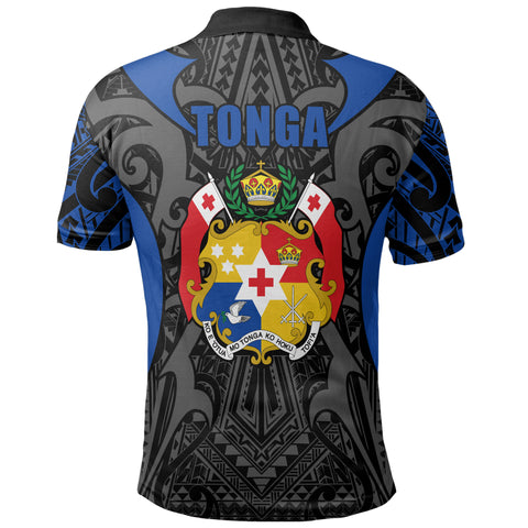 Tonga Polo Shirt - Kingdom of Tonga Black Blue J0