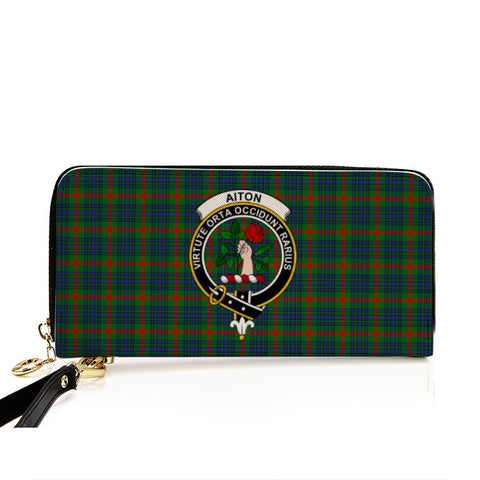 Image of AITON TARTAN CLAN BADGE ZIPPER WALLET HJ4