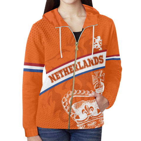 Netherlands Hoodie - Netherlands King's Day Lion Crown (Zip) A10