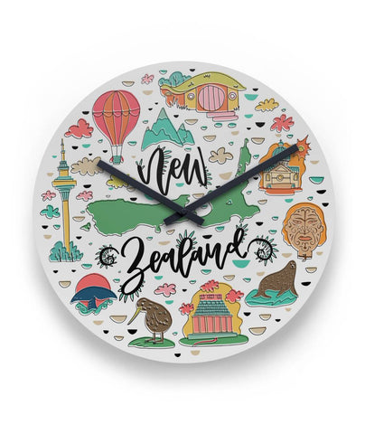 Image of New Zealand Travel Round Wall Clock K4